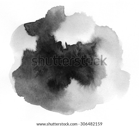 Art of Watercolor. Black spot on watercolor paper. Abstract gray spot on white background. Ink drop. Gray color. Abstract background and illustration texture for design and formalization. #306482159