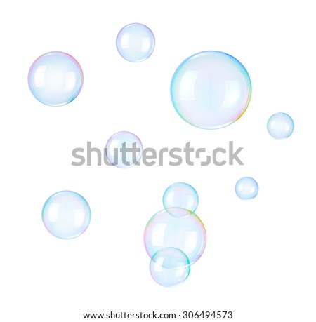 Soap bubbles on a white background Royalty-Free Stock Photo #306494573