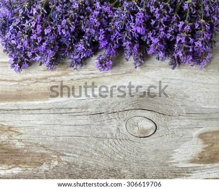 Lavender flowers on a wooden background. Floral border or frame with lavender.