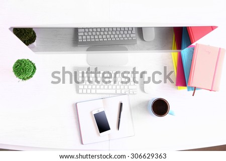Office workplace with modern computer, top view #306629363