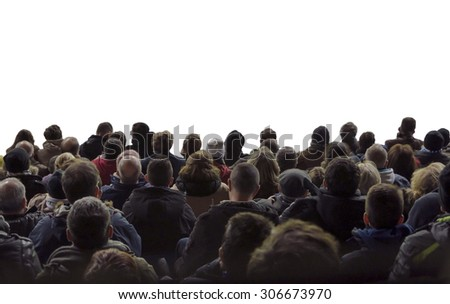 Spectators. A crowd of people isolated over white watching concert or sport event #306673970