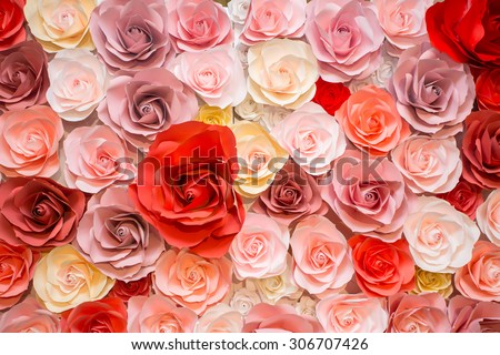 beautiful paper roses background for decorate the wedding ceremony. #306707426