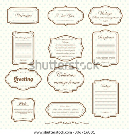 Vector of vintage frame set on pattern retro background. Calligraphic design elements. Royalty-Free Stock Photo #306716081