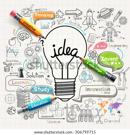 Lightbulb ideas concept doodles icons set. Vector illustration. Royalty-Free Stock Photo #306799715