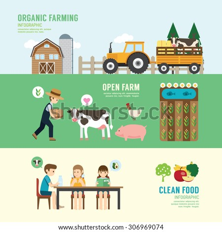 Organic Clean Foods Good Health design concept people set farming, eating, sitting, eco livestock farm in nature. with flat icons. vector illustration #306969074