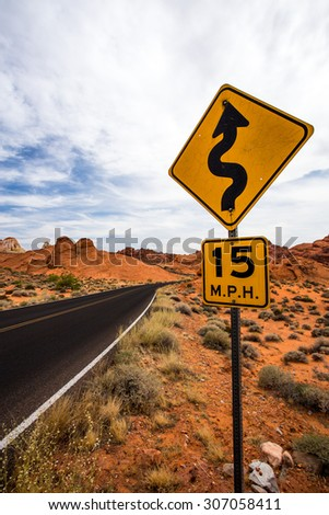 Speed Limit Road Sign in the Valley of Fire State Park, Nevada #307058411