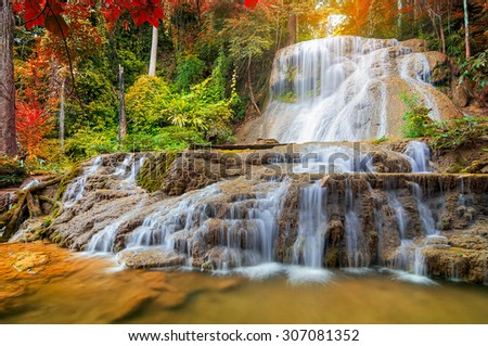 Beautiful Deep Forest Mae Kae Waterfall in the forest unseen Ngao district, Lampang, Thailand.