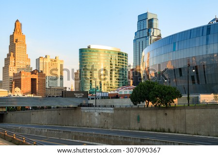 An image of downtown Kansas City Skyline with no trademarks.  Kansas City is located in Jackson County, Missouri.