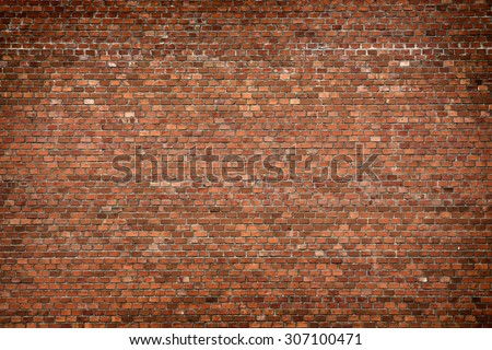red brick wall texture grunge background with vignetted corners, may use to interior design #307100471