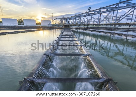 Water Treatment Plant at sunset Royalty-Free Stock Photo #307107260
