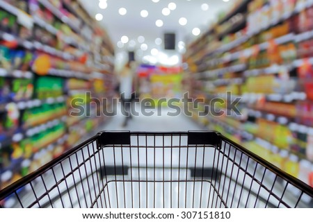 Abstract blurred photo of store with trolley in department store bokeh background Royalty-Free Stock Photo #307151810