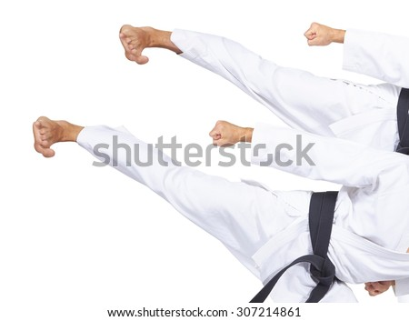 Two strokes Yoko geri athlete with black belt collage #307214861