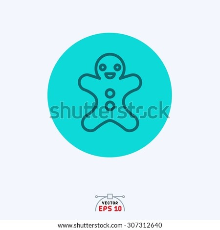 Flat blue icon of doll. #307312640