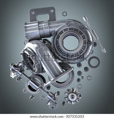 sorted turbocharger of car. High resolution 3d #307335203