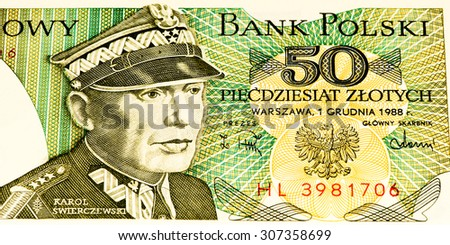VELIKIE LUKI, RUSSIA - JULY 30, 2015: 50 Polish zloty bank note. Zloty is the national currency of Poland #307358699