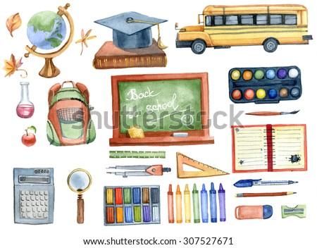 School set. Watercolor illustration.