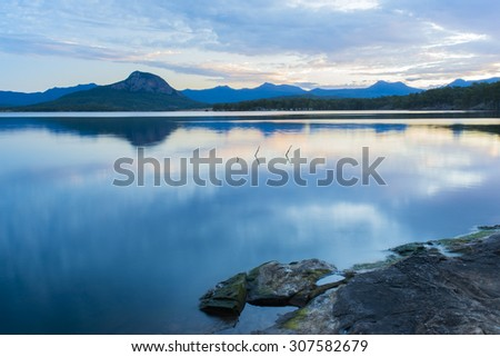 Lake Moogerah on the Scenic Rim in Queensland in the early morning  #307582679