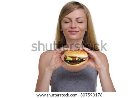 young beautiful girl with a Burger isolated on white background #307590176