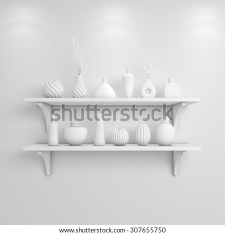 3d rendered interior composition with simple shelves on a wall. #307655750