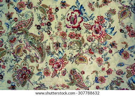 texture of vintage print fabric striped flowers and paisley for background #307788632