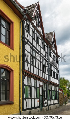The street with historical half-timbered houses in Bad Munstereifel, Germany #307957316