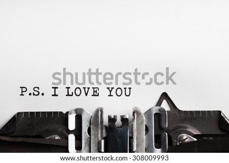 I Love You slogan written by a typewriter