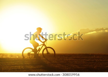 profile silhouette of sport man cycling uphill riding cross country mountain bike on sunset field with harsh sun light and high contrast in amazing beautiful rural landscape with lens flare #308019956