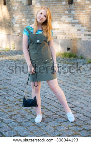 Student woman with her handbag  in casual clothes #308044193