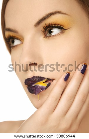 beautiful woman with flower on face #30806944