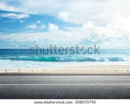 road on tropical beach #308070740