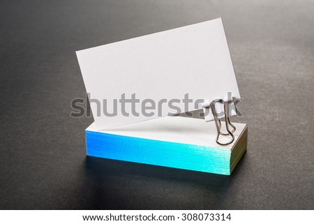 thick white cotton paper business card mock up with rainbow foil on the edges