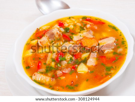 soup with meat, rice and vegetables #308124944