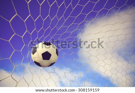 soccer ball and sky background color vintage #308159159