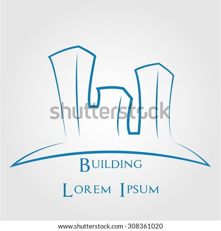 Isolated abstract buildings for company logos. Vector illustration #308361020
