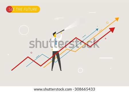 Businessman with telescope looking to the future. growth charts. Vector illustration Eps10 file. Success,  rates Royalty-Free Stock Photo #308665433