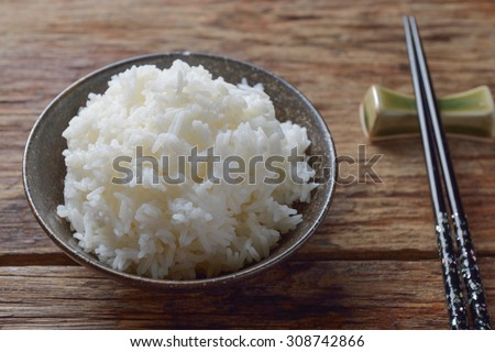 Bowl of Organic White Rice with chop sticks #308742866