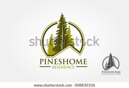 Pines Home  Residence Vector Logo Template. The logo is a pines tree with incorporate. This symbolizes a neighborhood, protection, peace, growth, nature, ecological and environment concept.
