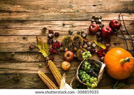 Autumn fruit background. Autumn Thanksgiving seasonal fruit. Nature background Royalty-Free Stock Photo #308859035