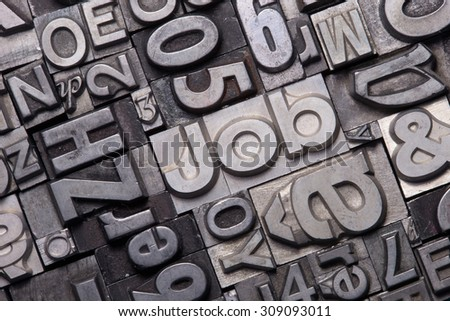 lead type letters form the word job #309093011