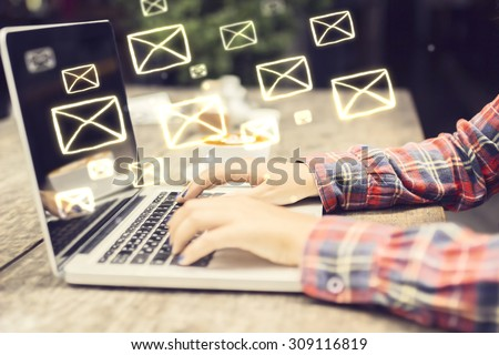 Email concept with laptop ang girl hands #309116819