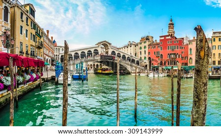 Panoramic view of famous Canal Grande with famous Rialto Bridge in Venice, Italy #309143999
