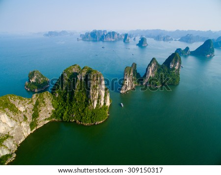 Beautiful seascape with sea and mountain from high view in Halong bay, Vietnam. #309150317