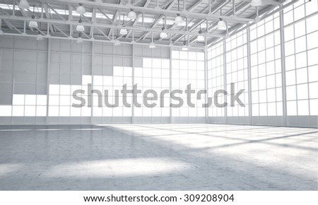 3D rendering warehouse interior white #309208904