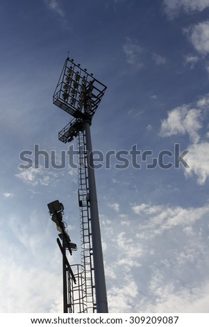 sport light of football stadium with blue sky #309209087