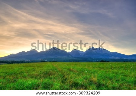 Summer mountain landscape. Beautiful view on the High Tatra Mountains, Slovakia. #309324209