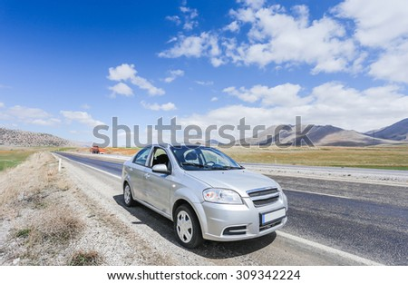 Car on road in the mountain of the Turkey  #309342224
