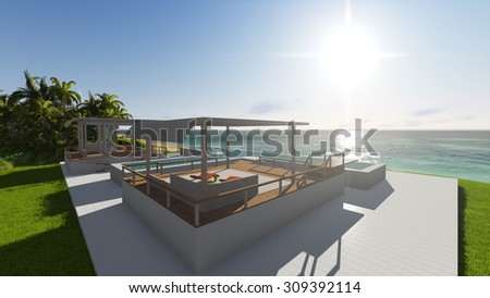 Pool and houses by the ocean. 3D render #309392114