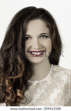 Glamour portrait of beautiful woman model with fresh daily makeup #309412508