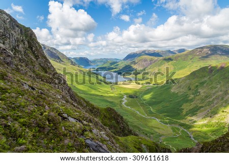 Buttermere and Warnscale Bottom from Green crag, The Lake District, England #309611618
