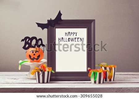 Halloween poster mock up template with candy